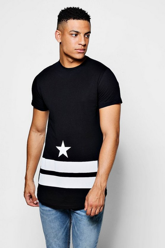 Star And Stripe T-Shirt With Curve Hem
