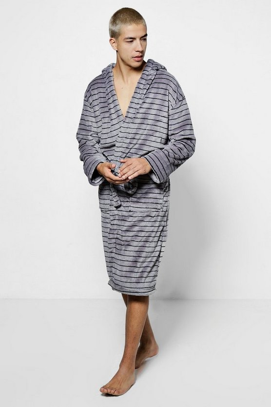 Grey Stripe Print Hooded Robe