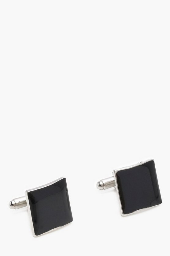 Silver and Black Cuff Links