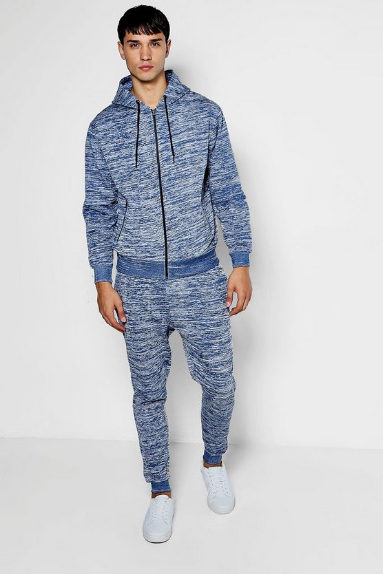 Skinny Fit Marl Hooded Tracksuit