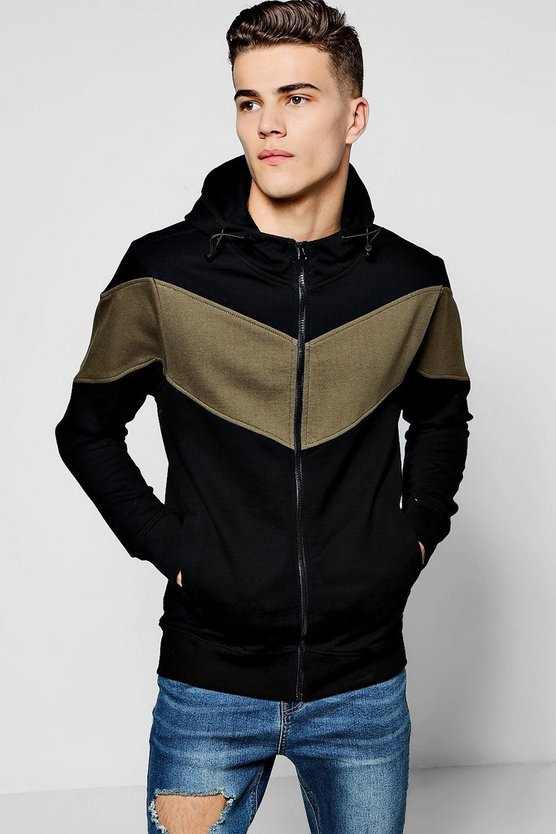 Zip Through Hoodie In Colour Block