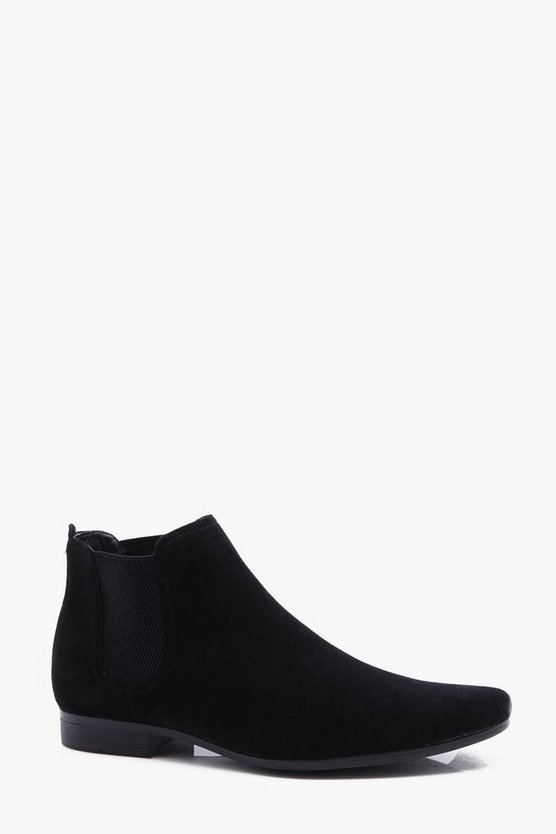 Faux Suede Short Chelsea Boot