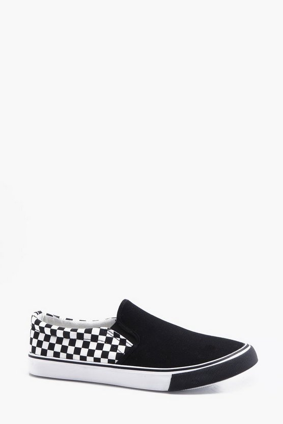 Checked Slip On Plimsolls