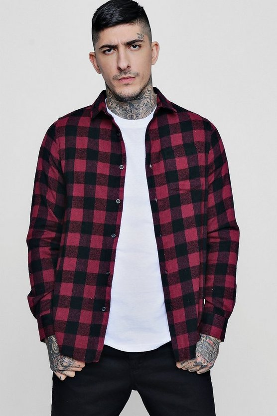 Burgundy Buffalo Check Long Sleeve Shirt