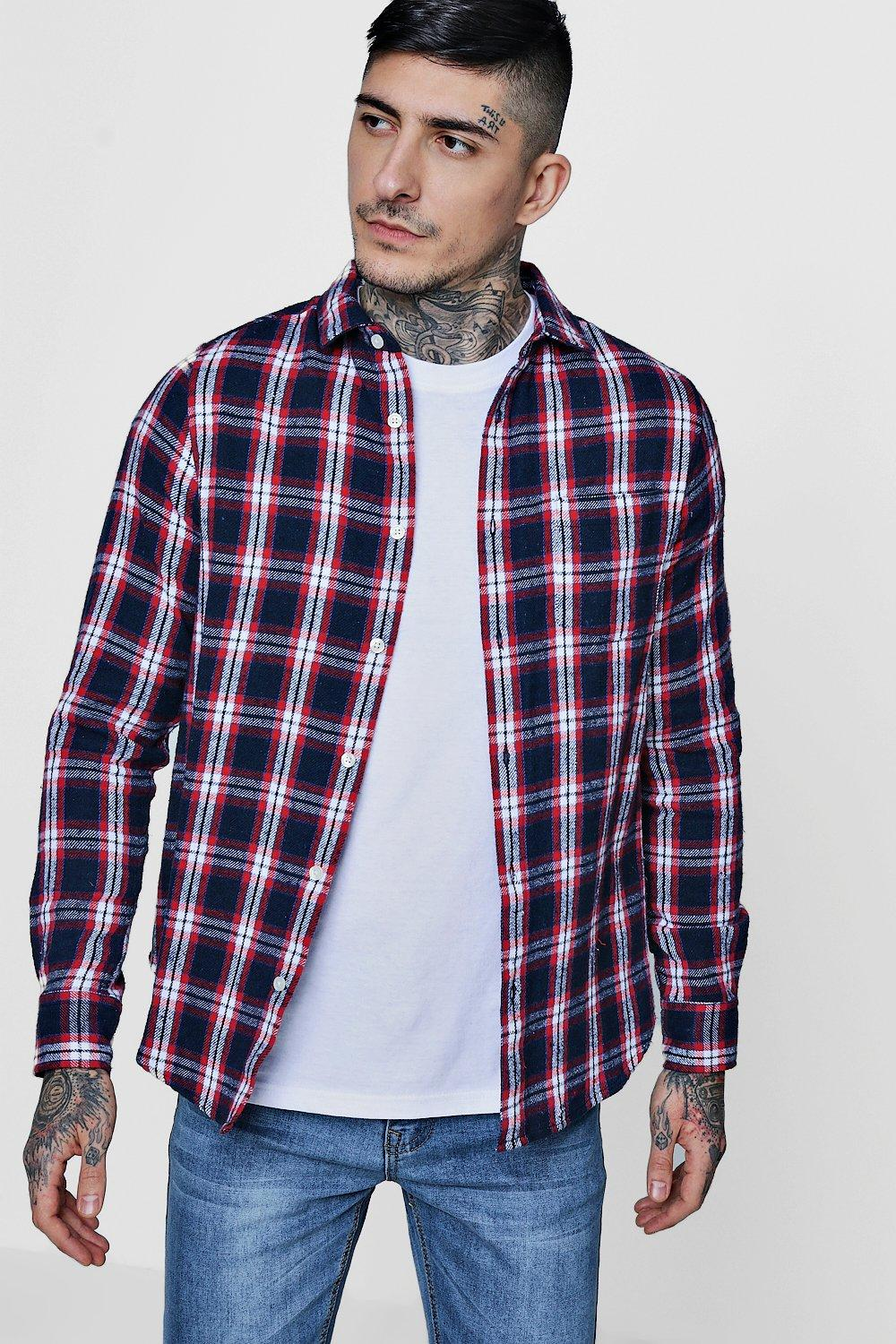 Navy Brushed Check Long Sleeve Flannel Shirt | Boohoo
