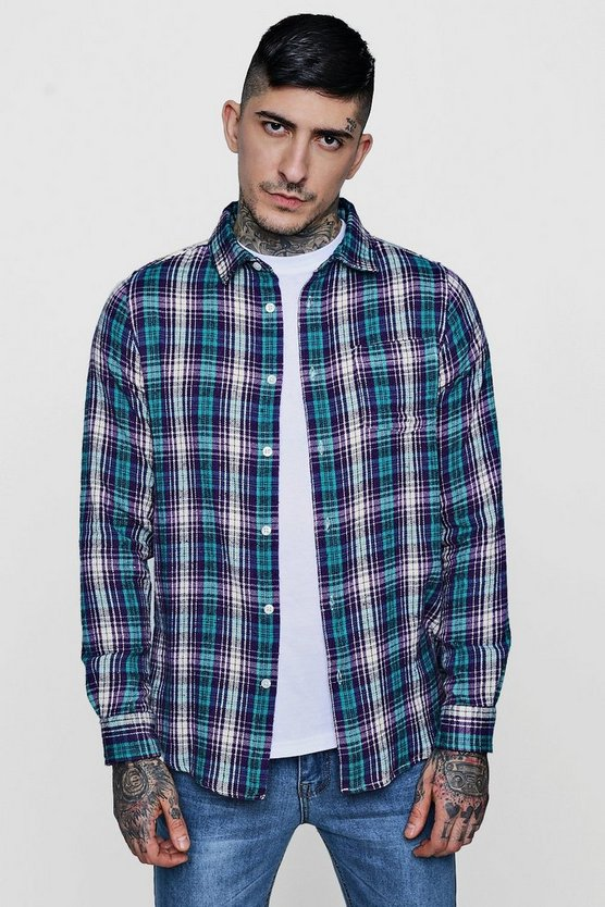 Purple Brushed Check Long Sleeve Shirt