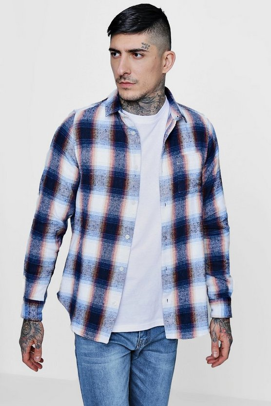 Brushed Check Long Sleeve Flannel Shirt