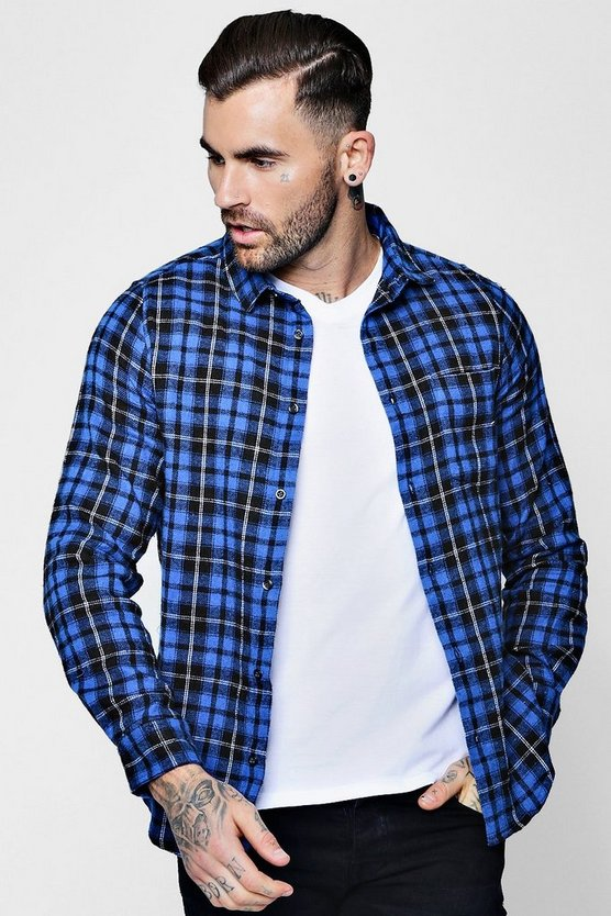 Grid Check Long Sleeve Flannel Shirt