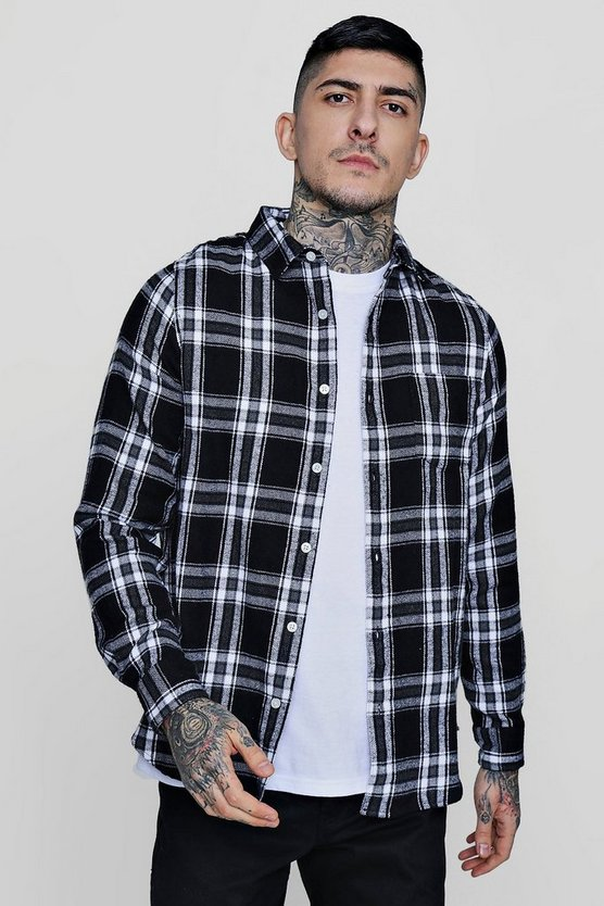 Mono Check Long Sleeve Flannel Shirt