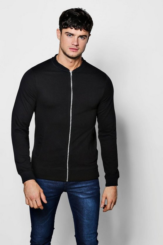Muscle Fit Jersey Bomber Jacket
