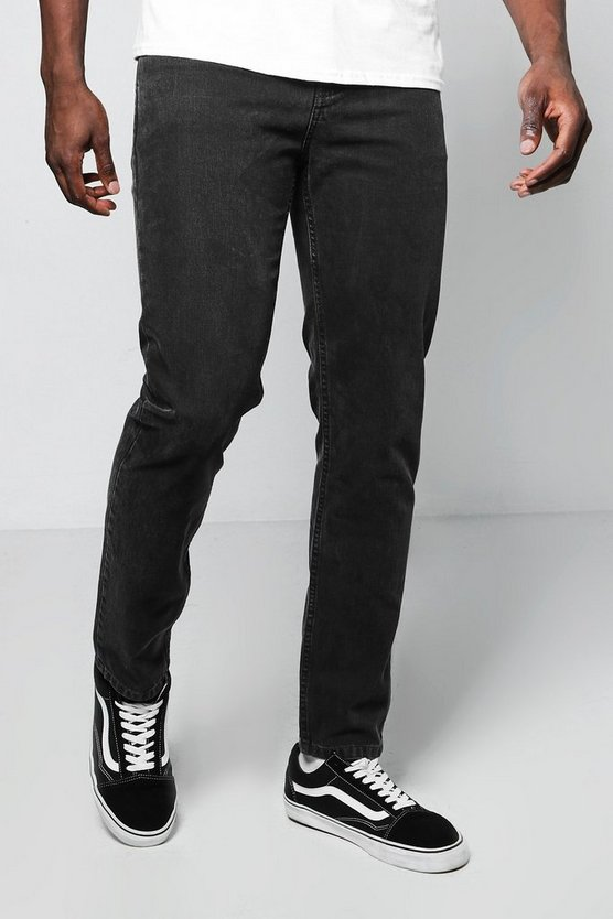 Slim Fit Charcoal Denim Jeans In 11oz