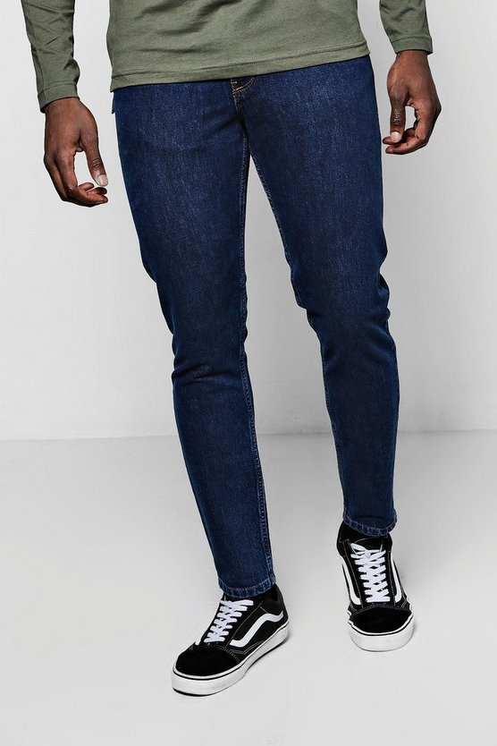 Tapered Fit Dark Blue Denim Jeans In 13oz