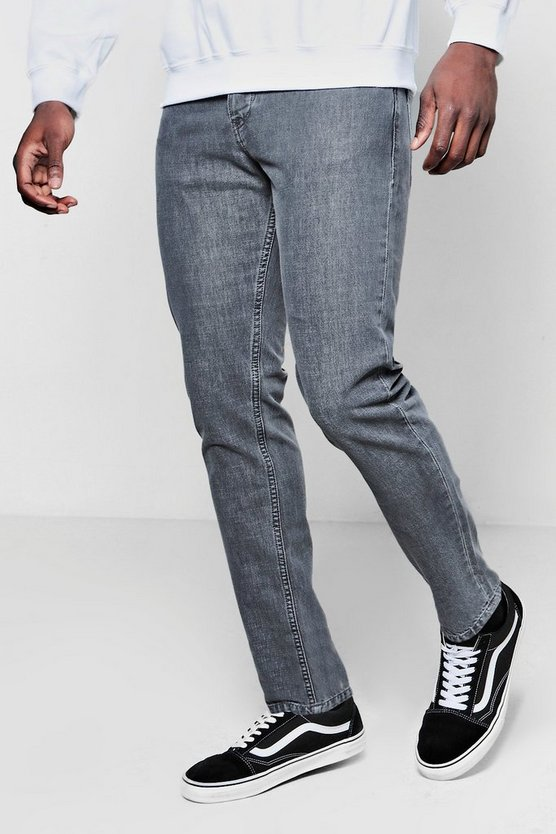 Tapered Fit Grey Denim Jeans In 11oz