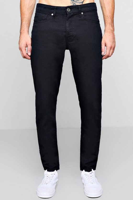 Tapered Fit Black Denim Jeans In 11oz