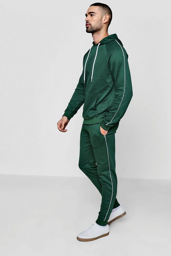 Skinny Fit Hooded Tracksuit With Piping
