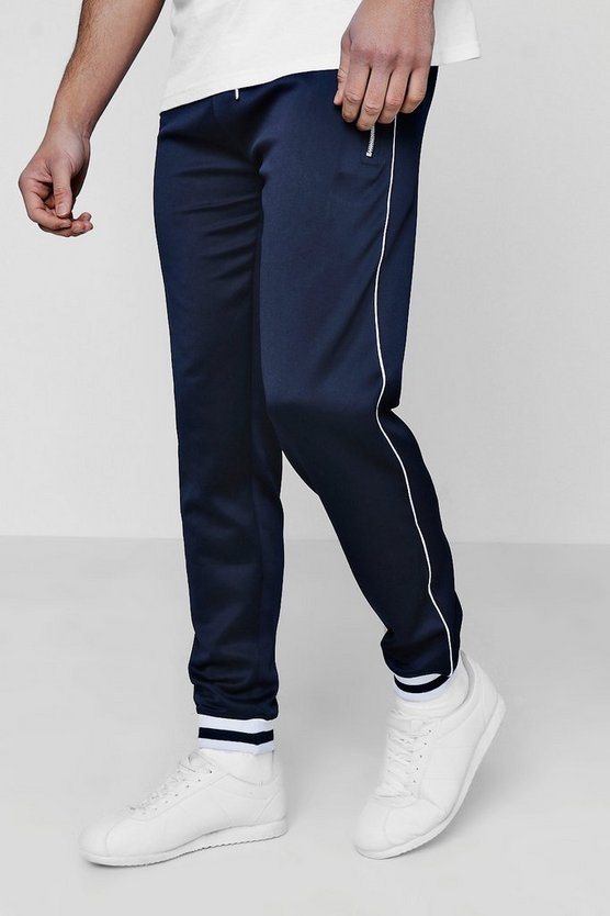 Skinny Fit Tricot Joggers With Piping