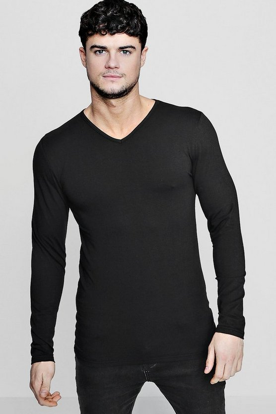 Long Sleeve V-Neck T-Shirt in Muscle Fit
