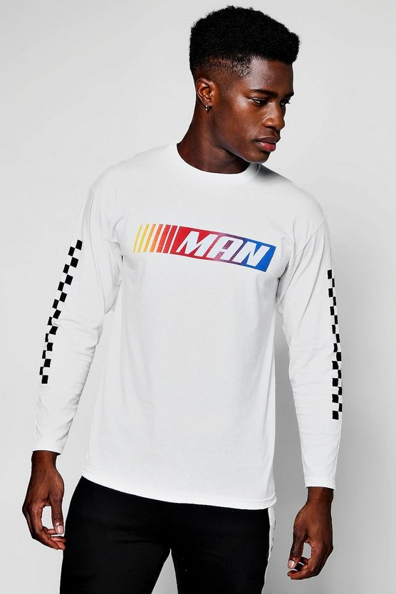 Long Sleeve MAN Check Print T-Shirt