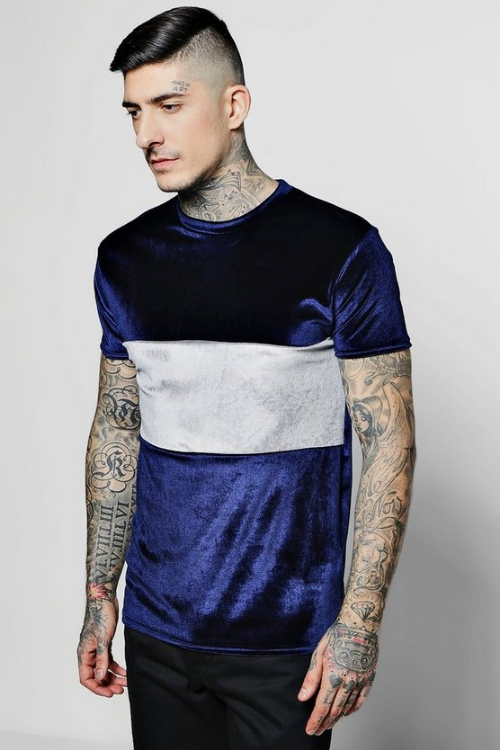 Colour Block Velour T-Shirt in Muscle Fit