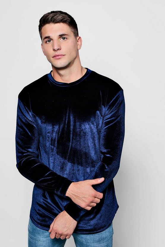 Long Sleeve Velour T-Shirt in Muscle Fit