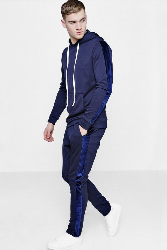 Skinny Tracksuit with Velour Panel