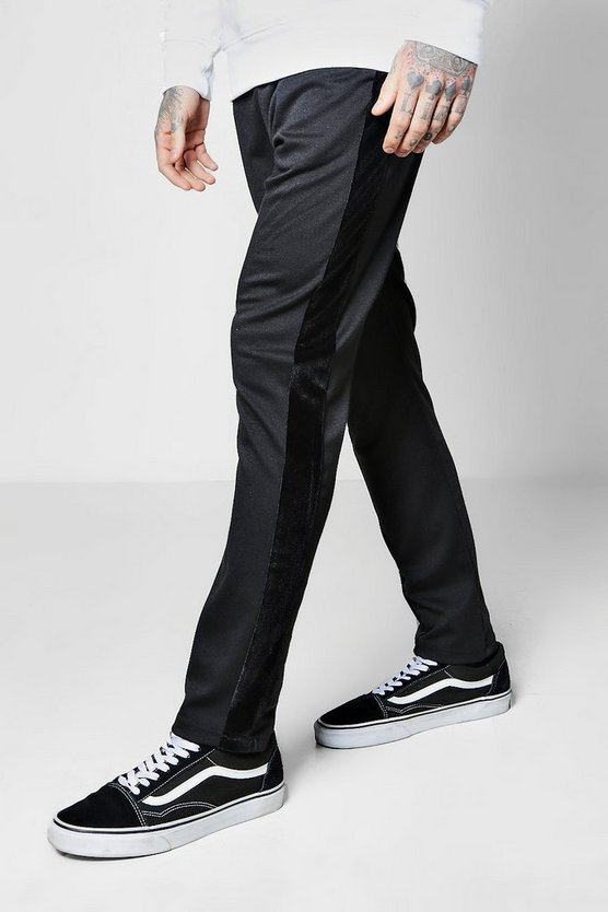 Skinny Fit Joggers With Velour Panel