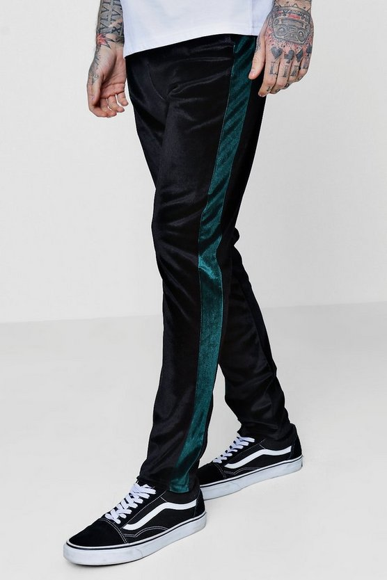 Skinny Fit Velour Joggers with Panels