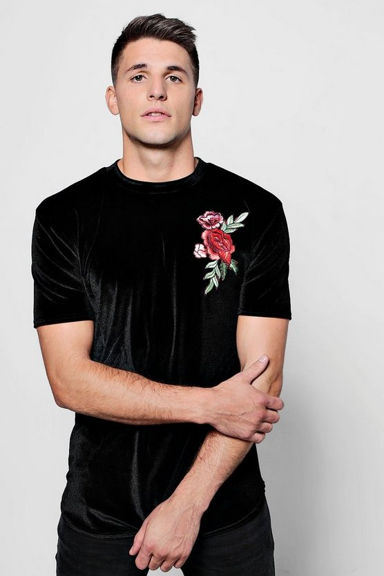 Floral Embroidered Velour T-Shirt in Muscle Fit