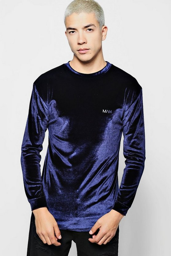 Long Sleeve MAN Velour T-Shirt in Muscle Fit