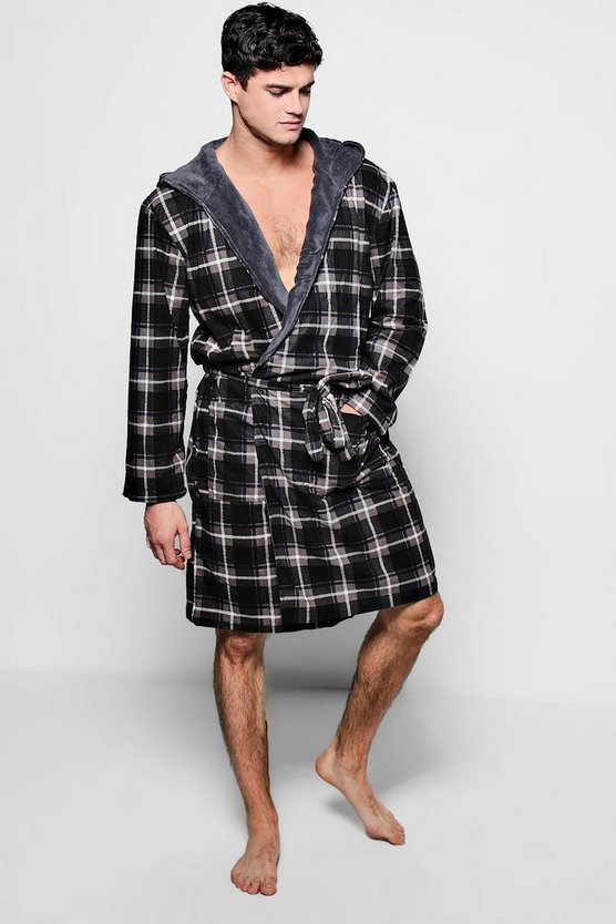Checked Flannel Robe With Fleece Hood