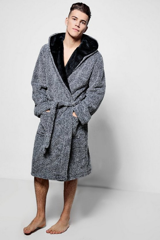 Hooded Fleece Robe In Marl