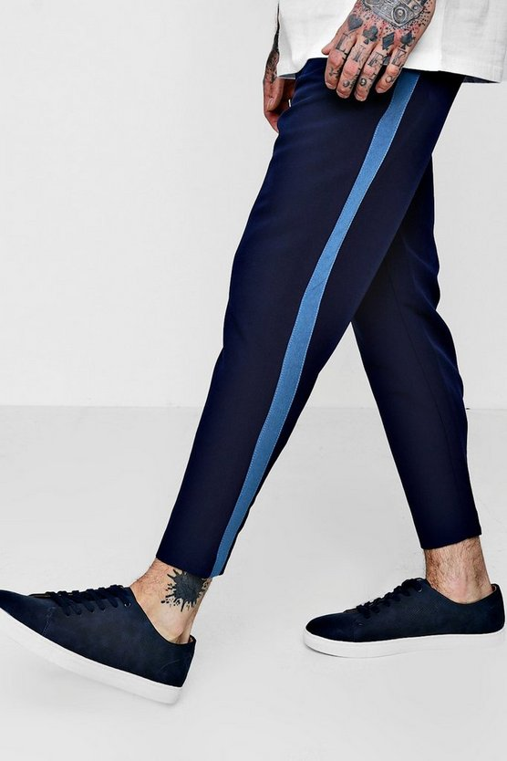 Taped Skinny Fit Stretch Trousers