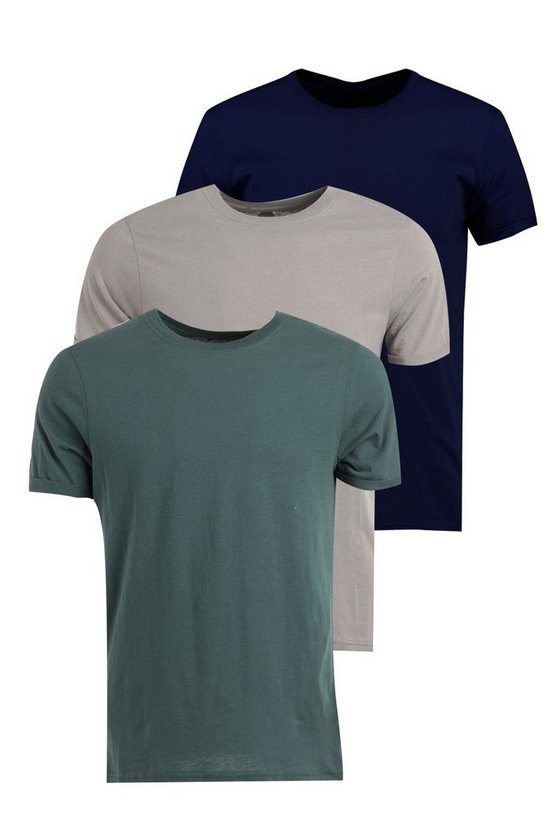 3 Pack Crew Neck T Shirts in Slim Fit