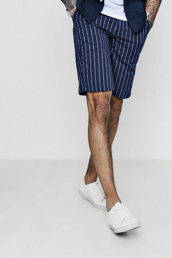 Pinstripe Cotton Shorts