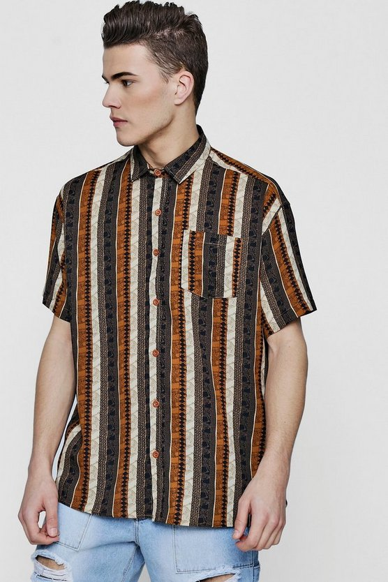 Oversized Aztec Print Short Sleeve Shirt