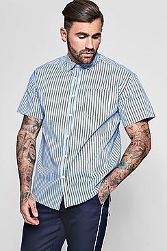 Camicia a maniche corte con righe a contrasto