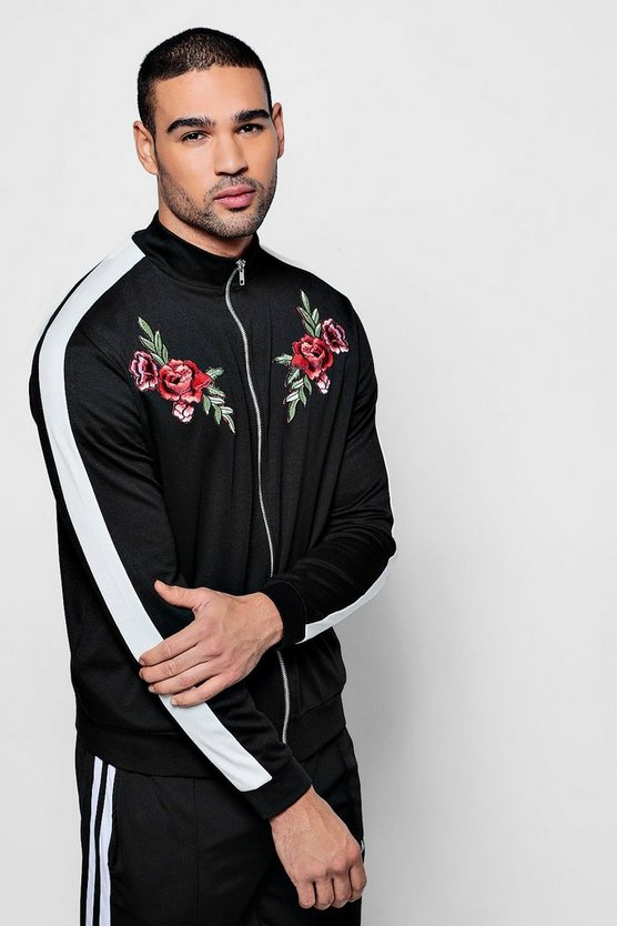 Contrast Panel Track Top With Floral Embroidery