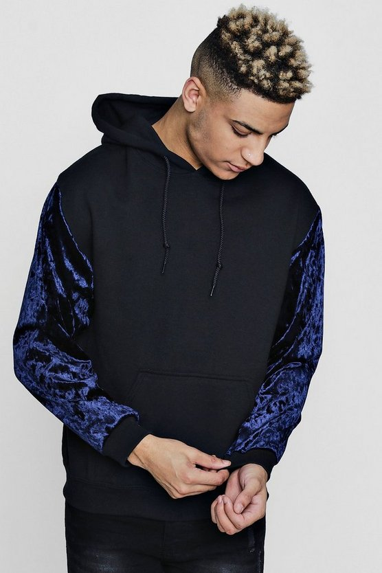 Over The Head Hoodie With Velour Sleeves