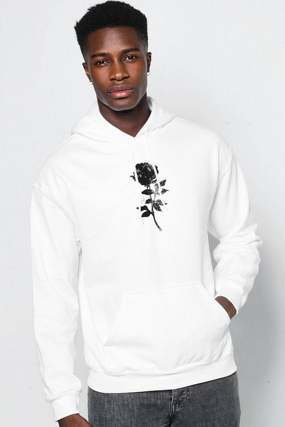 Metallic Rose Embroidered Hoodie