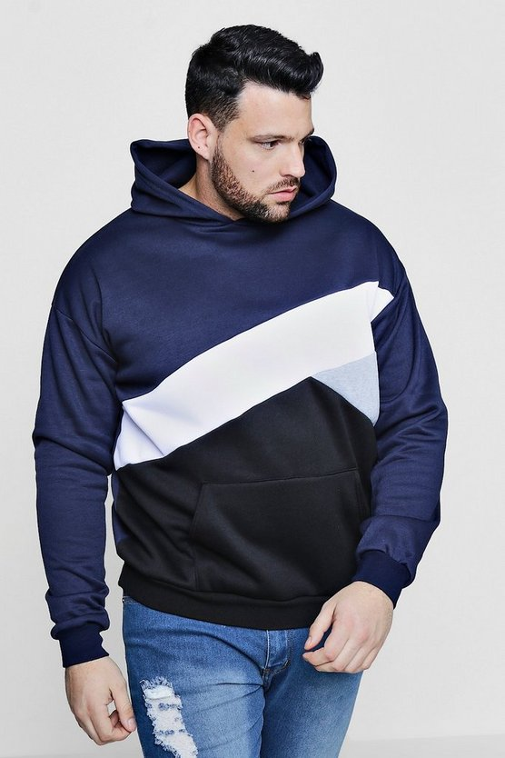 Big And Tall Spliced Colour Block Hoodie