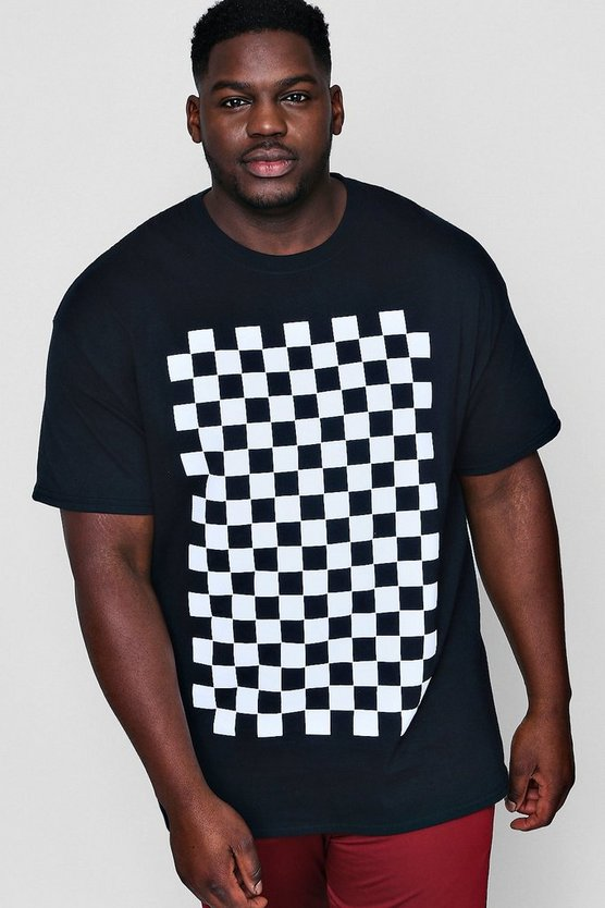 Big And Tall Checkerboard Print T-Shirt