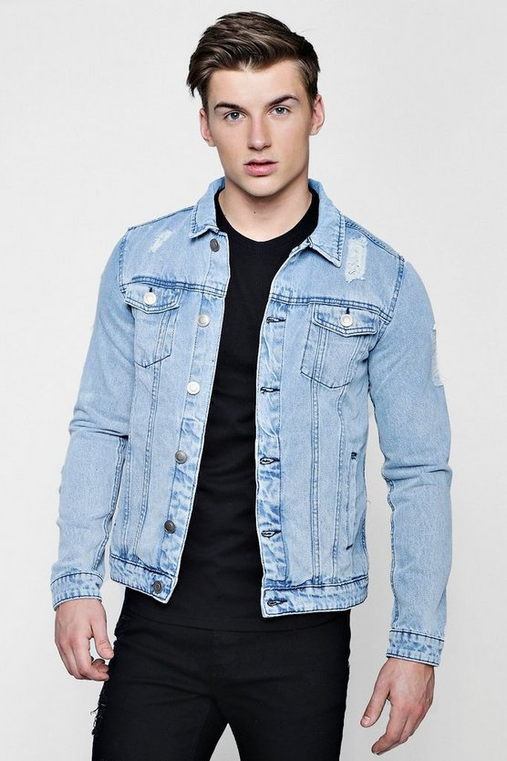 Graphic Back Print Denim Jacket by Boohoo