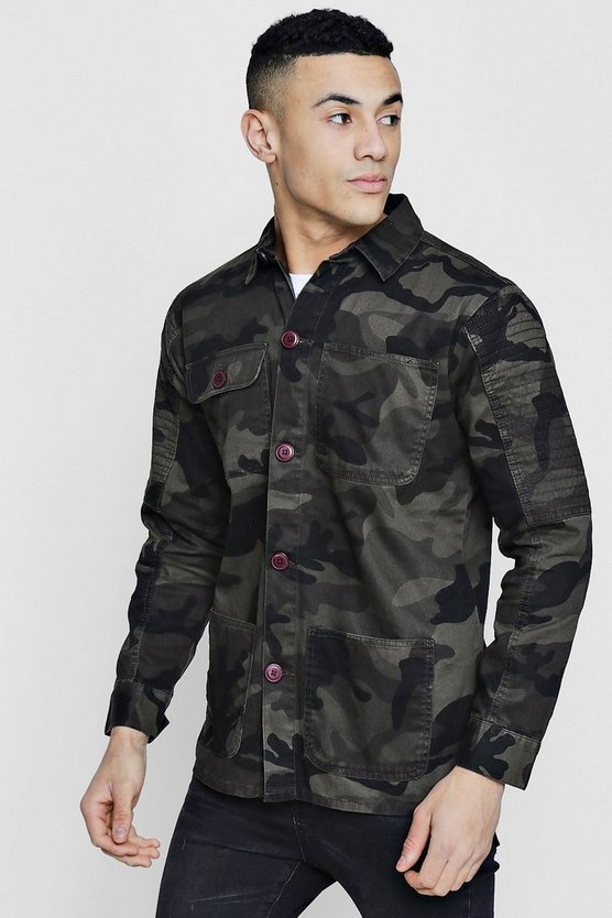 Biker Detail Camo Field Jacket