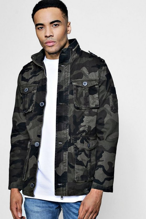 Zip Detail Camo Field Jacket
