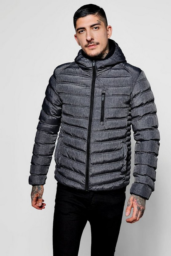 Hooded Puffer Jacket With Chest Pocket
