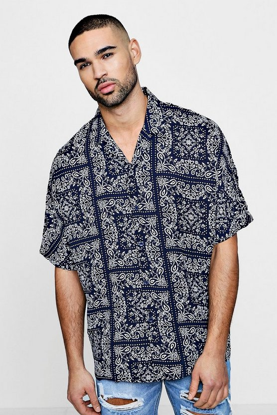 Short Sleeve Bandana Printed Revere Shirt