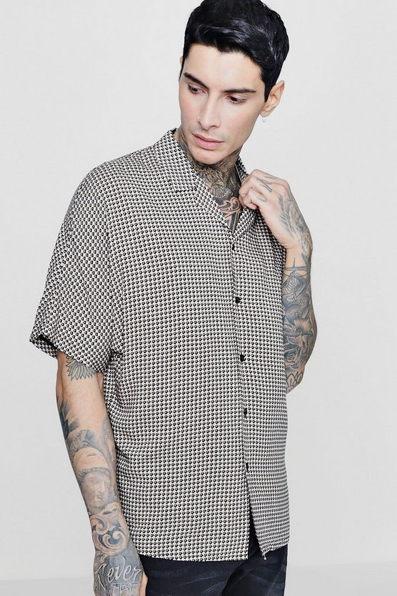 Geo Print Short Sleeve Oversized Revere Shirt
