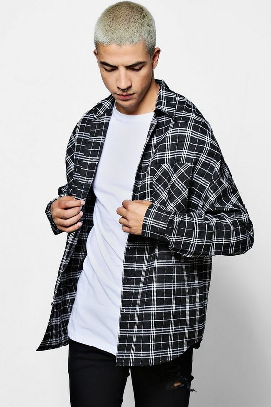 Long Sleeve Drop Shoulder Check Shirt