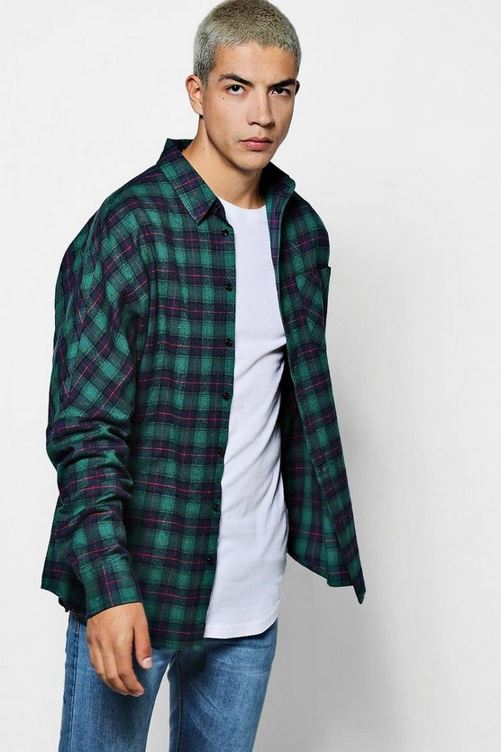 Long Sleeve Drop Shoulder Plaid Shirt