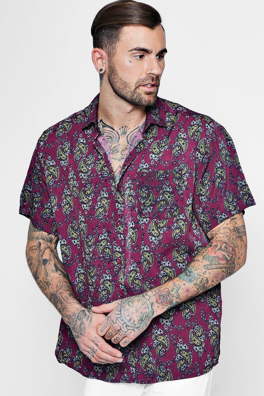 camisa de manga corta con estampado de cachemir   Boohoo